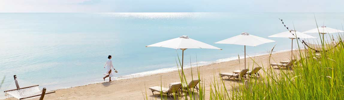 Enjoy the peaceful beach front at the 5 star Ikos Dassia hotel