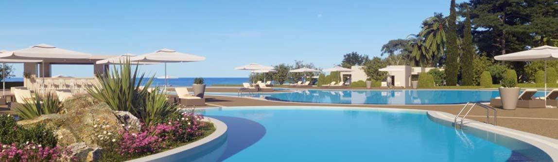 Outdoor swimming pools at Ikos Dasia Hotel Corfu